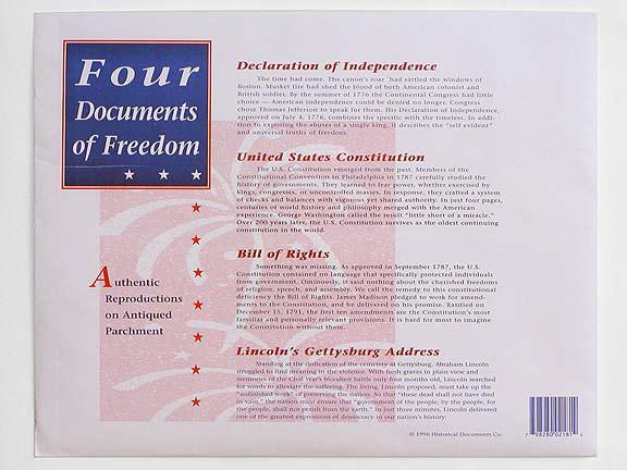 Four Documents Of Freedom Souvenir Replica Pack