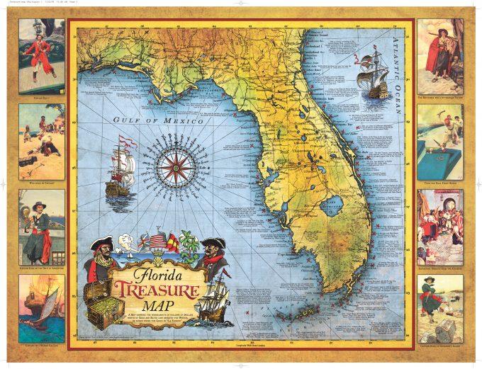 Florida Treasure Map Historic Print Map Company